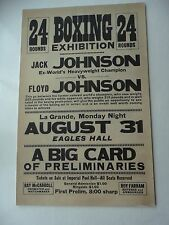 1931 JACK JOHNSON v Floyd Johnson Boxing Exhibition On-Site Poster