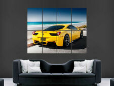 FERRARI 458 YELLOW SUPERCAR FAST SEXY HOT ART WALL LARGE IMAGE GIANT POSTER