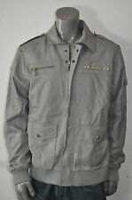 NWT AFFLICTION BLACK PREMIUM mens JACKET grey faux LEATHER studs *MEDIUM