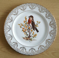 Exquisite gold edged 27 Cm English bone china plate  of Robin on Peruvian Lily