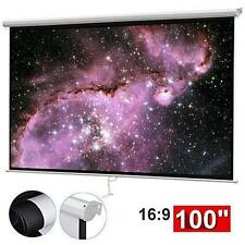 """100"""" Manual Projection Screen HD Movie Projector White 16:9"""