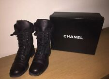CHANEL Combat Boots Lace Up