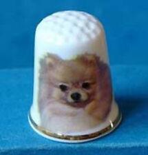 Birchcroft China Thimble -- Pomeranian Dog with Free Dome Gift Box