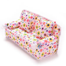 Mini Furniture Sofa Couch +2 Cushions For Barbie Doll House Accessories BeautyLD