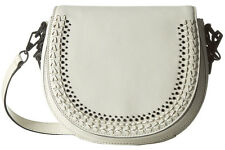 NWT Rebecca Minkoff Antique White Studded Woven Leather Astor Saddle Bag