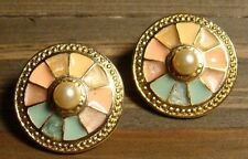 Vintage Retro Gold Tone Faux Pearl Colorful Round Wheel Earrings Fashion Jewelry