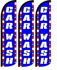 Car Wash Patriotic Windless Standard Size  Swooper Flag Sign Banner Pk of 3