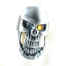 RING ghost SKULL monster pirate silver argent gray solid ONE SIZE LARGE yellow
