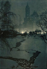 Adolf Fassbender - The White Night  1937 Photogravure New York City Central Park