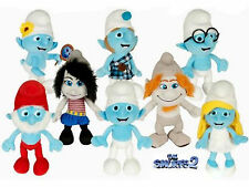 "Smurfs 2 Movie Smurf Gift 8 pc 8pc Collectible 8"" Plush Doll Toy Complete Set"