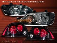 2002-2003 MITSUBISHI LANCER ES/LS/OZ JDM BLACK HEADLIGHTS + BLACK TAIL LIGHTS