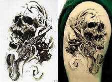 Pistole Schädel Temporary Temporäre Klebe Einmal Tattoo 500 Motive* 15x21cm HB58