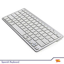 Bluetooth V3.0 Spanish Keyboard Layout PC Laptop Tablet Apple Android - White