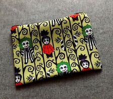 Goth Chibi Beetlejuice Inspired Poly Mesh Zipper Pouch Cosmetic Makeup Bag