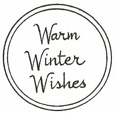 Small WARM WINTER WISHES Wood Mounted Rubber Stamp NORTHWOODS C10175 New