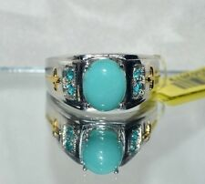 3.25ct. NATURAL GENUINE  TURQUOISE & .25ct. APATITE   COCKTAIL RING