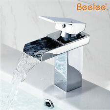 Beelee Chrome Solid Brass Waterfall Bathroom Sink Faucet Basin Mixer Tap