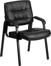 Black Leather Reception Chair Office Waiting Room With Black Color Frame Finish