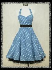 dress190 PLUS SIZE BLUECHIFFON POLKA DOT 50s ROCKABILLY COCKTAIL DRESS 20-22