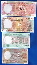 INDIA - 4 x BANKNOTEN - 2 5 10 20 RUPEES - OLD UNCIRCULATED SET
