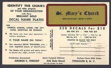 1957 GEORGE C THROOP PRINTER OF DECALS LABELS ETC, SYRACUSE NY