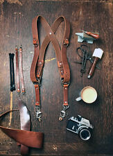 Dual Camera Harness Multicamera Shoulder Strap Leather Camera Harness Brown