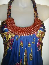 Sky Brand Clothing S Top Leather Braided Tunic Navy Blue Brown Yellow Party Sexy