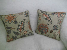 GP&J  BAKER COTTON/LINEN FABRIC BAKERS INDIENNE ONE PAIR 18 INCH CUSHION COVERS.