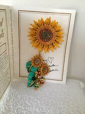 Lunch at the Ritz Seeded Sunflower Brooch Pin Pendant Combo NWT Signed