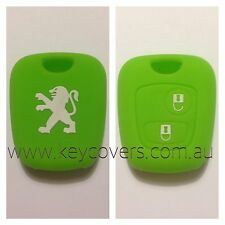PEUGEOT GREEN 206 307 SILICONE CAR KEY COVER CASE HOLDER NEW ACCESSORIES REMOTE