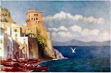 Cetara: Panorama. Costiera Amalfitana.Salerno. Stampa Antica + Passepartout.1904