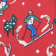 100% REAL HERMES TIE ~ CHERRY RED w GREEN & BLUE DOWNHILL ALPINE SKIERS TREES XL