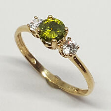 14K solid yellow gold 5mm round shape faceted Peridot, white topaz ring, size 7