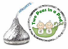 216 TWO PEAS IN A POD TWINS BABY SHOWER FAVORS HERSHEY KISS KISSES LABELS
