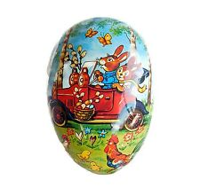 Vintage German Paper Easter Egg Container Bunny Rabbits in a Car Large Size