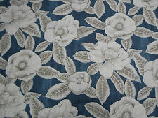 Harlequin Curtain Fabric 'Floria' 2 METRES Indigo/Taupe ~ Poetica Collection