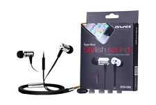 AWEI ES100i Earbuds Earphone Super Bass Silver for iphone, MP3, MP4 smart phone