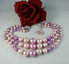 Vintage Japan 3 Pink  Beaded  Necklace CAT RESCUE