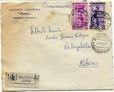 1951 Italia al Lavoro RACCOMANDATA Azienda Agricola Ceresa Occimiano Giarole