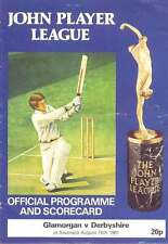 Glamorgan v Derbyshire John Player League 1981 Cricket Programme at Swansea