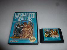 SEGA GENESIS GAME UNCHARTED WATERS CARTRIDGE & CASE RARE  KOEI ROLE PLAY RPG