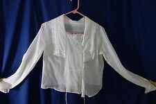 Victorian White Blouse- Large- Pretty Drawn-Work & Lace-Bustle Ties- Lovely-SALE