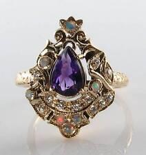 Majestic 9k 9ct ORO AMETISTA Opal Diamante Anello lunga Victorian INS libero Ridimensiona