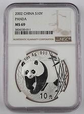 China 2002 1 Oz 999 Silver Panda 10 Yuan Coin NGC MS69 GEM BU+