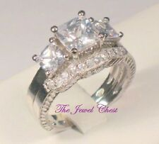 3.00 Ct Princess Trilogy Diamond Engagement Ring Bridal set White Gold