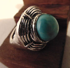 Women's Turquoise Ring Tibet Silver Retro Look Size 6.5 Solitaire Jewelry New