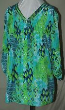 KATE & MALLORY BEAUTIFUL COLORS IKAT PRINT PLEATED FRONT LONG TABBED SL BLOUSE L