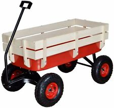 Outdoor Wagon All Terrain Pulling w/ Wood Railing Air Tires Children Kid Garden