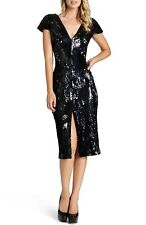 DRESS THE POPULATION 'elizabeth' SEQUIN BODY-CON MIDI BLACK DRESS sz L