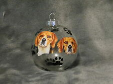 HAND MADE BEAGLE GLASS CHRISTMAS ORNAMENT / BALL